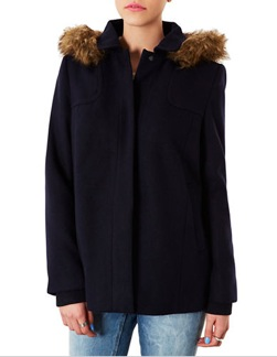 Topshop Hooded Swing Coat