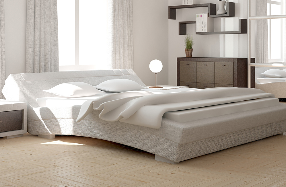 modern bedroom with cream bedding